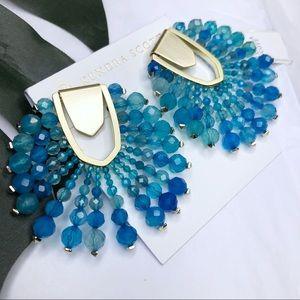 Kendra Scott Diane beaded blue agate earrings NWT